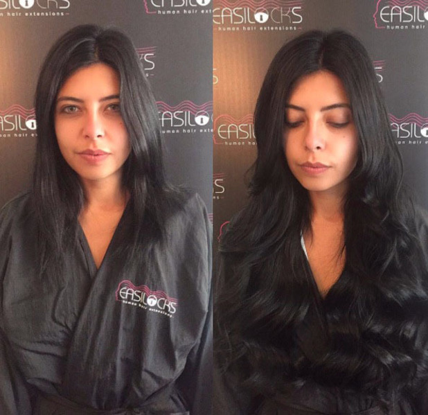 Love Island's Cara De La Hoyde shows off her new Easilocks hair extensions, 18th July 2016