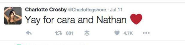 Charlotte Crosby congratulates Cara de la Hoyde and Nathan Massey 21 July 2016