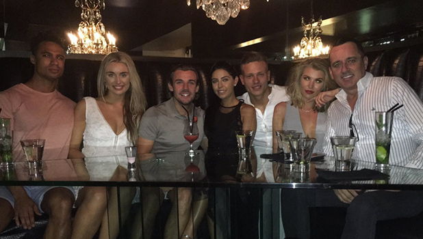 Love Island: Rachel, Rykard, Cara, Nathan, Alex and Olivia at Sheesh Chigwell, Essex 20 July 2016