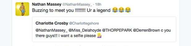 Charlotte Crosby meets Cara de la Hoyde and Nathan Massey at Thorpe Park 21 July 2016