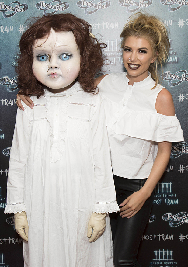 Olivia Buckland at Thorpe Park's latest ride, Derren Brown's Ghost Train Launch 21 July 2016