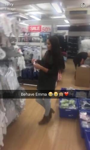 Emma-Jane Woodhams looks at baby clothes, Snapchat 27 July