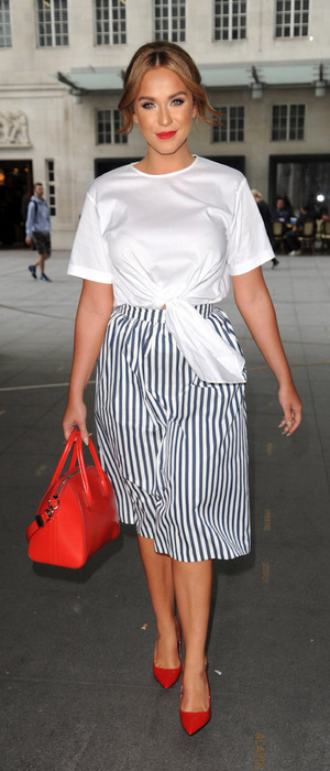Former Geordie Shore star Vicky Pattison spotted outside BBC Radio 1 in London, 27th July 2016