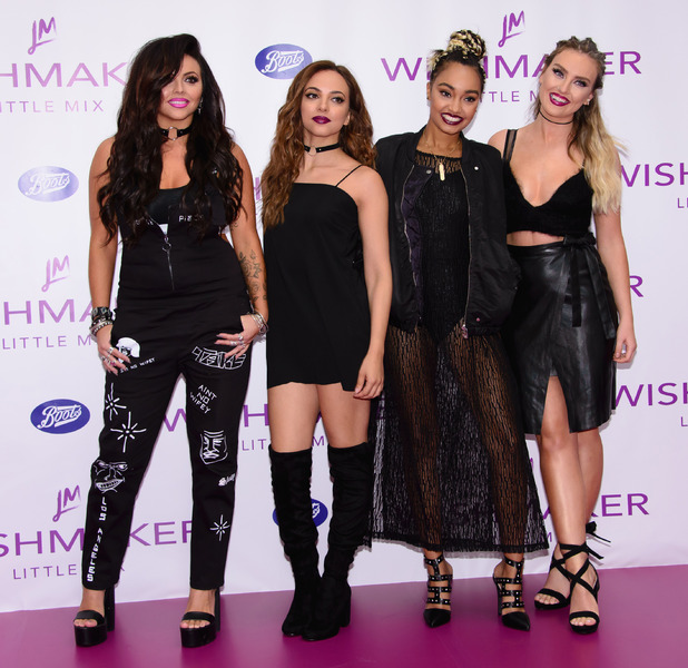 Little Mix's Jade Thirlwall, Leigh-Anne Pinnock, Jesy Nelson and Perrie Edwards launch their new fragrance, Wishmaker, at Lakeside in Essex, 28th July 2016