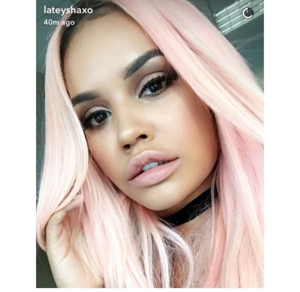Lateysha Grace dyes her hair pink and shares the results on Snapchat and Instagram, 24th July 2016