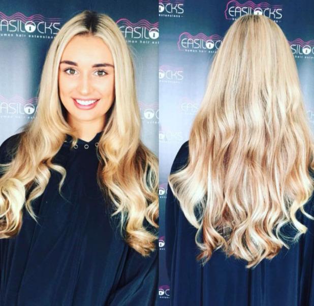 Love Island's Rachel Fenton shows off her much longer blonder hair on Instagram courtesy of Easilocks hair extensions, 24th July 2016