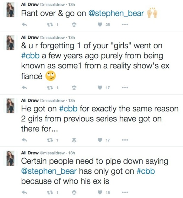 Ex On The Beach star Ali Drew tweets about Stephen Bear, Vicky Pattison and Cami Li - Twitter 28 July