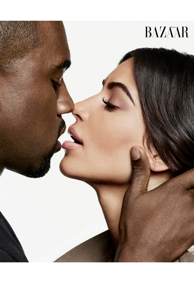 Kim Kardashian and Kanye West on Harper's Bazaar shoot, 28th July 2016