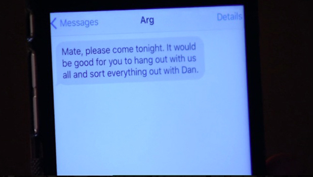 TOWIE Series 18, Episode 4 Dan and Tommy talk - Arg texts to encourage meeting 27 July 2016