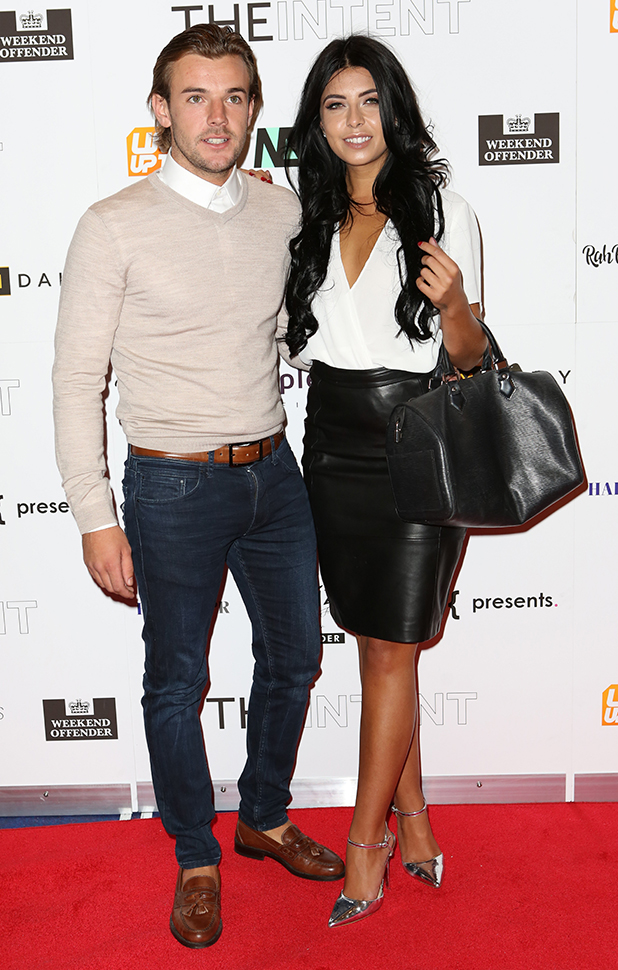 Love Island's Cara de la Hoyde and Nathan Massey at The Intent premiere London, 25 July 2016