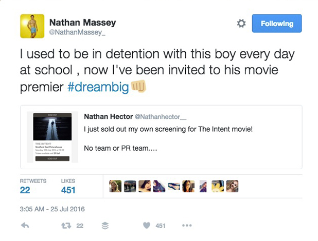 Love Island's Nathan Massey tweets about The Intent premiere London, 25 July 2016