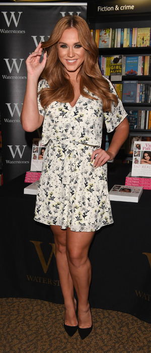 Geordie Shore and I'm A Celebrity star Vicky Pattison wears River Island dress to promote new book, The Real Me, in Manchester 2nd August 2016