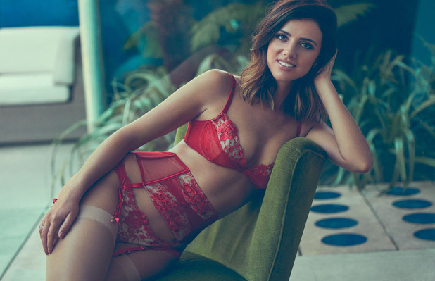 Former TOWIE star Lucy Mecklenburgh collaborates with lingerie brand Boux Avenue, red bra and knickers, 3rd August 2016