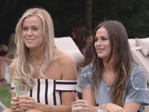 Chloe Meadows and Courtney Green talking to Megan McKenna on tonight's TOWIE, 14/8/16