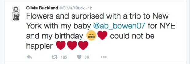 Olivia Buckland reveals Alex Bowen is taking her to NYC - 8 August 2016