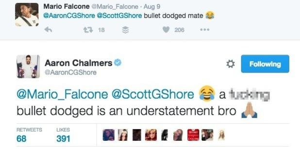 Mario Falcone and Aaron Chalmers tweets about Marnie Simpson 12 August