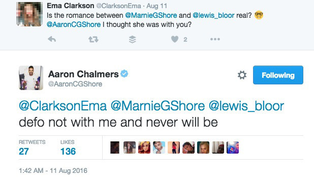 Aaron Chalmers tweets about Marnie Simpson and Lewis Bloor