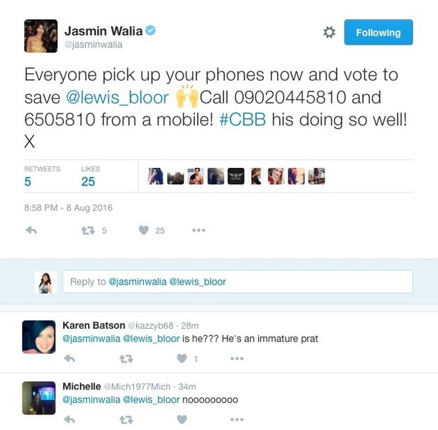 Jasmin Walia receives backlash for urging Lewis Bloor support - 8 Aug 2016