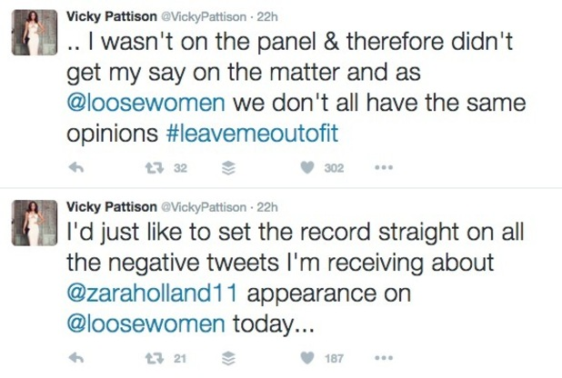 Vicky Pattison tweets about Zara Holland on Loose Women 18 August