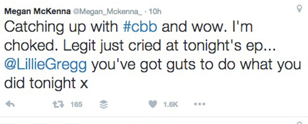 CBB: Megan McKenna tweets about Lillie's appearance 18 August 2016