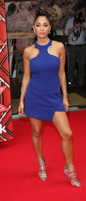 Nicole Scherzinger poses in blue dress at X Factor, London, 25 August 2016