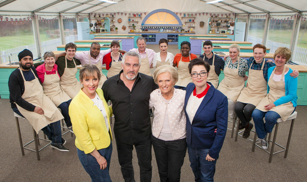 The Great British Bake Off, full bakers shot, Mel Giedroyc, Paul Hollywood, Mary Berry, Sue Perkins, Wed 24 Aug