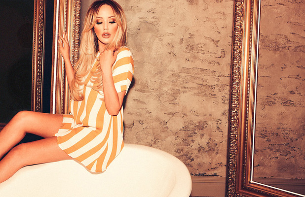 Former Geordie Shore star Charlotte Crosby launches late-summer fashion collection with In The Style, yellow striped dress, 26 August 2016