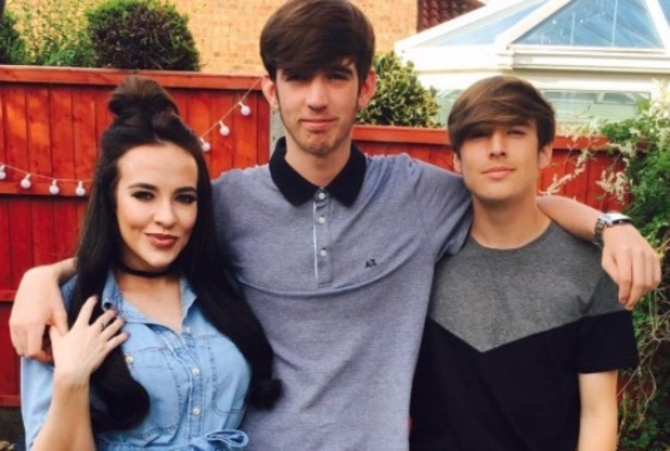Stephanie Davis poses with her brothers - 24 August 2016