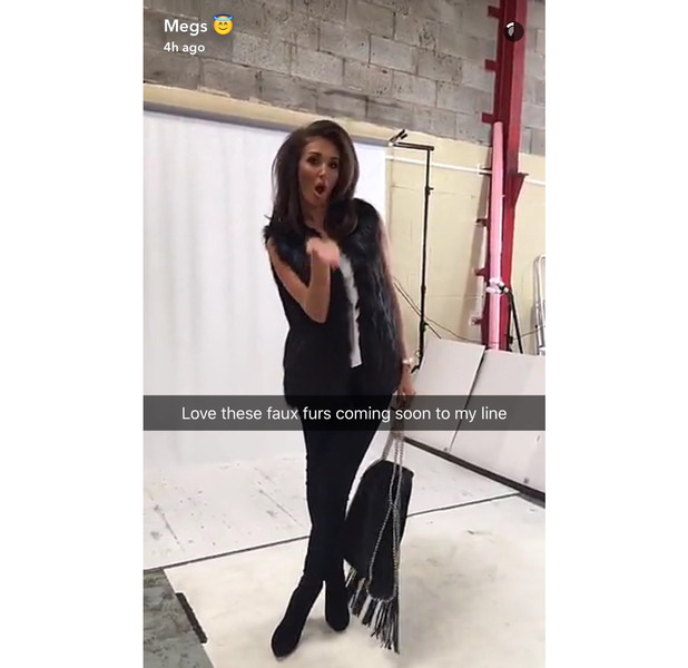 TOWIE star Megan McKenna shows off her new Miss Pap collection, AW16, Snapchat, fur gilet 26 August 2016