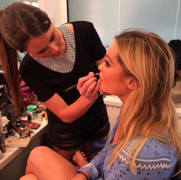 Laura Whitmore behind-the-scenes having make-up done for BBC's new season of Strictly Come Dancing, 23 August 2016