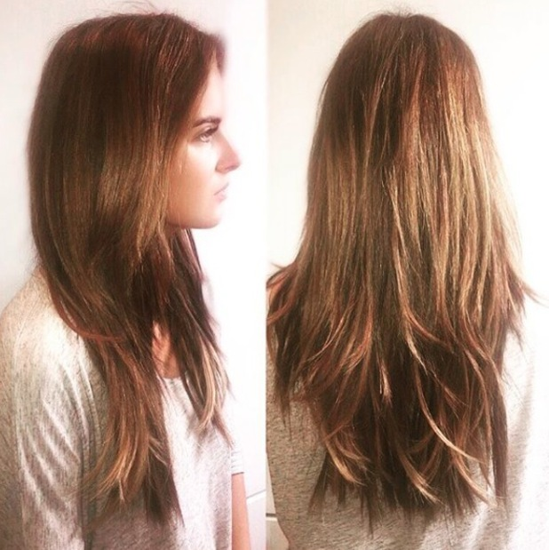 Made In Chelsea star Binky Felstead shows off her more natural hair on Instagram after king in for extensions over-haul, London, 25 August 2016