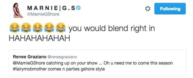 Renee Graziano tweets Marnie Simpson about Geordie Shore 31 August