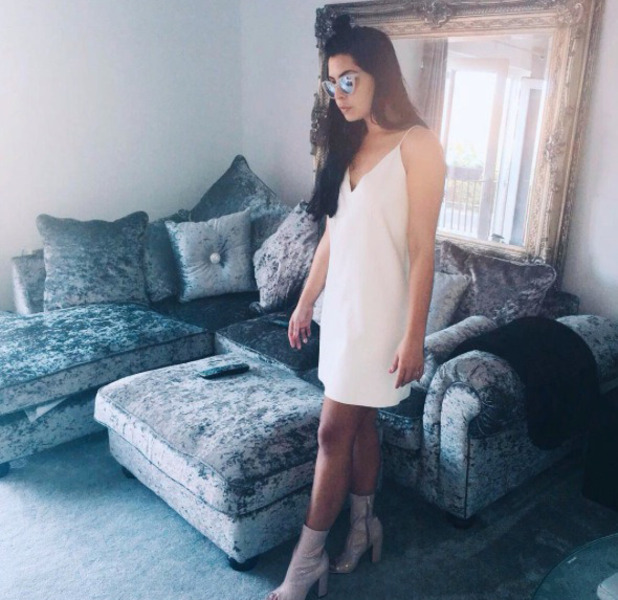 Love Island's Cara de la Hoyde wears Missy Empire dress and shoes, Instagram, 30 August 2016