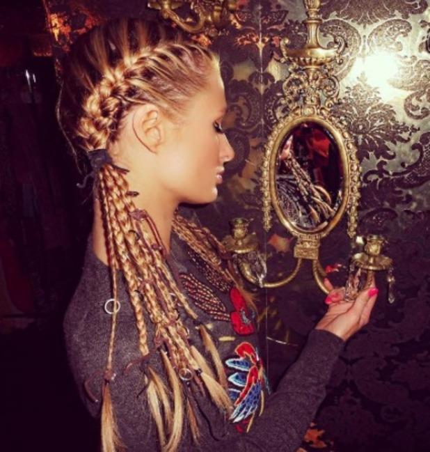 Paris Hilton rocks amazing braided hair by celebrity hairstylist Chris Dylan, ready for Burning Man Festival, 30 August 2016