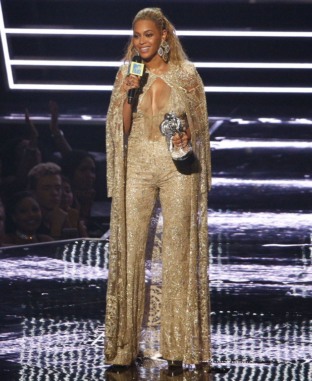 Beyonce speaks onstage during the 2016 MTV Video Music Awards at Madison Square Garden on August 28, 2016 in New York City.