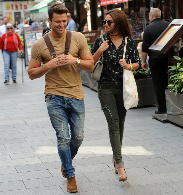 Mark Wright and Michelle Keegan laugh and joke as they leave the Global Studios in Leicester Square - 7 Sep 2016