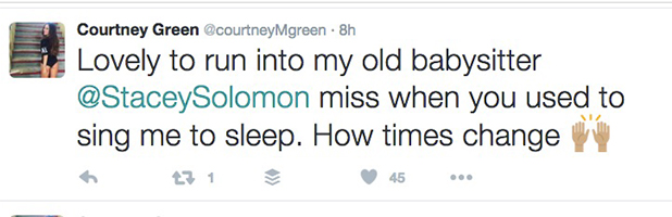 Courtney Green tweets that Stacey Solomon used to babysit her 5 Sept 2016