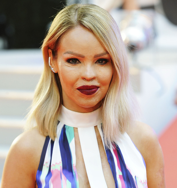 Katie Piper arrives for the World premiere of 'David Brent: Life on the Road' at Odeon Leicester Square on August 10, 2016 in London, England.