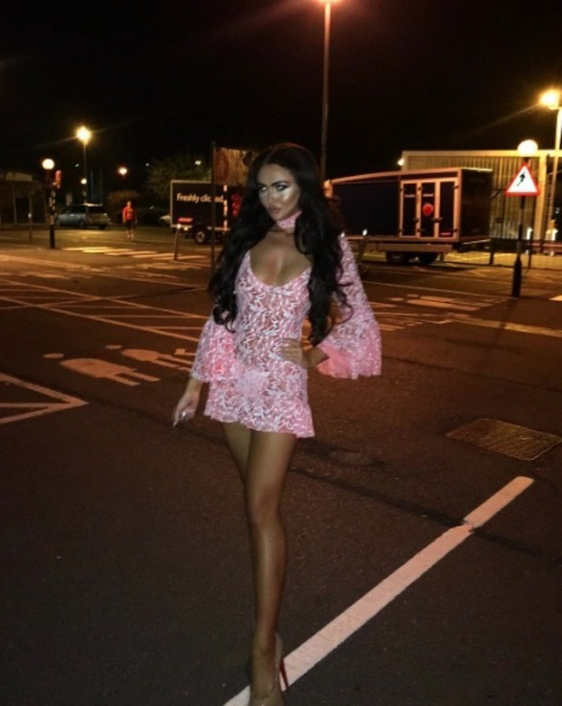 Ex On The Beach star Charlotte Dawson wears tiny pink see-through dress in Ipswich, 15 September 2016