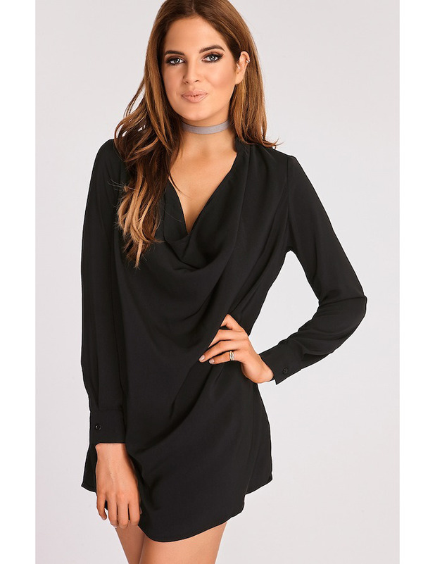 Made In Chelsea's Binky Felstead launches transeasonal fashion collection with In The Style, Black Cowl Neck dress £34.99 12 September 2016