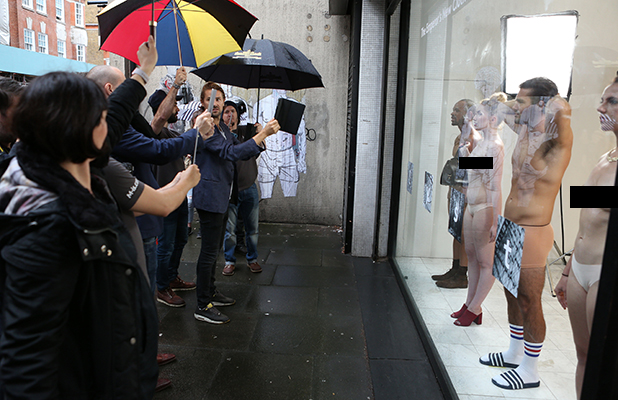 Spencer Matthews appears in shop window display in a showcase of the near future of fashion retail by Lyst, the world's biggest online fashion site 16 Sept 2016