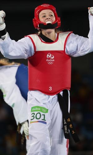 Jade Jones (GBR) celebrates her victory over Nikita Glasnovic (SWE) in a women's taekwondo 57kg semifinals match - Rio, Brazil 18 August