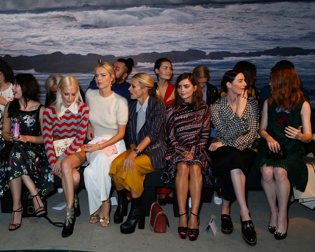 Hikari Yokoyama, Daisy Lowe, Poppy Delevingne, Eva Herzigova, Laura Bailey, Jenna Coleman, Erin O'Connor and Rose Leslie attend the Erdem show during London Fashion Week Spring/Summer collections 2017 on September 19, 2016 in London, United Kingdom.
