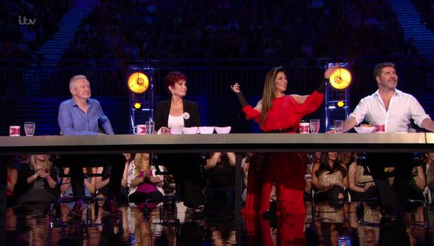 Sharon Osbourne, Louis Walsh, Simon Cowell and Nicole Scherzinger on The X Factor 25 September