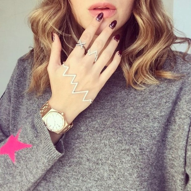 Rosie Fortescue, dark berry nails with gemstones by Ruuby app, 28 September 2016