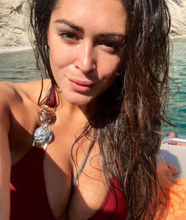Casey Batchelor, no make-up selfie on a boat in Ibiza, 26 September 2016