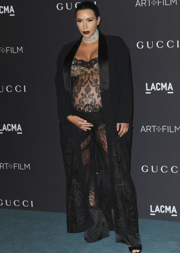 Kim Kardashian showcases bump in sheer dress 11/09/15