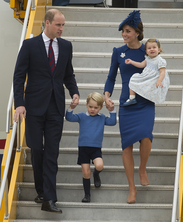 The Duke and Duchess of Cambridge arrive with Prince George and Princess Charlotte at Victoria Airport to start their Canadian tour