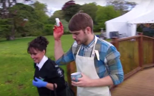 John Waite cuts finger on Great British Bake Off 7 Aug 2015
