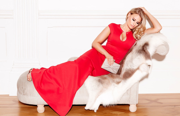 Quiz Clothing launches a party edit with The Only Way Is Essex's Danielle Armstrong, red gown £54.99, 4 October 2016